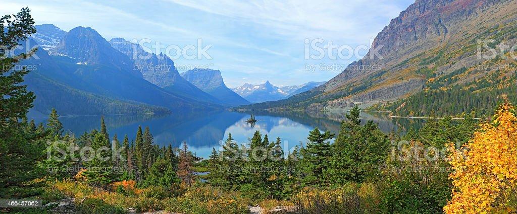 Wild Goose Island, Glacier National Park stock photo