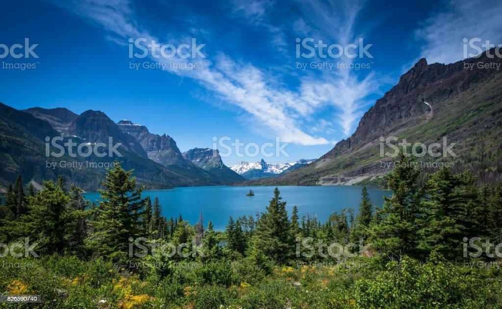 Wild Goose Island in St. Mary Lake stock photo