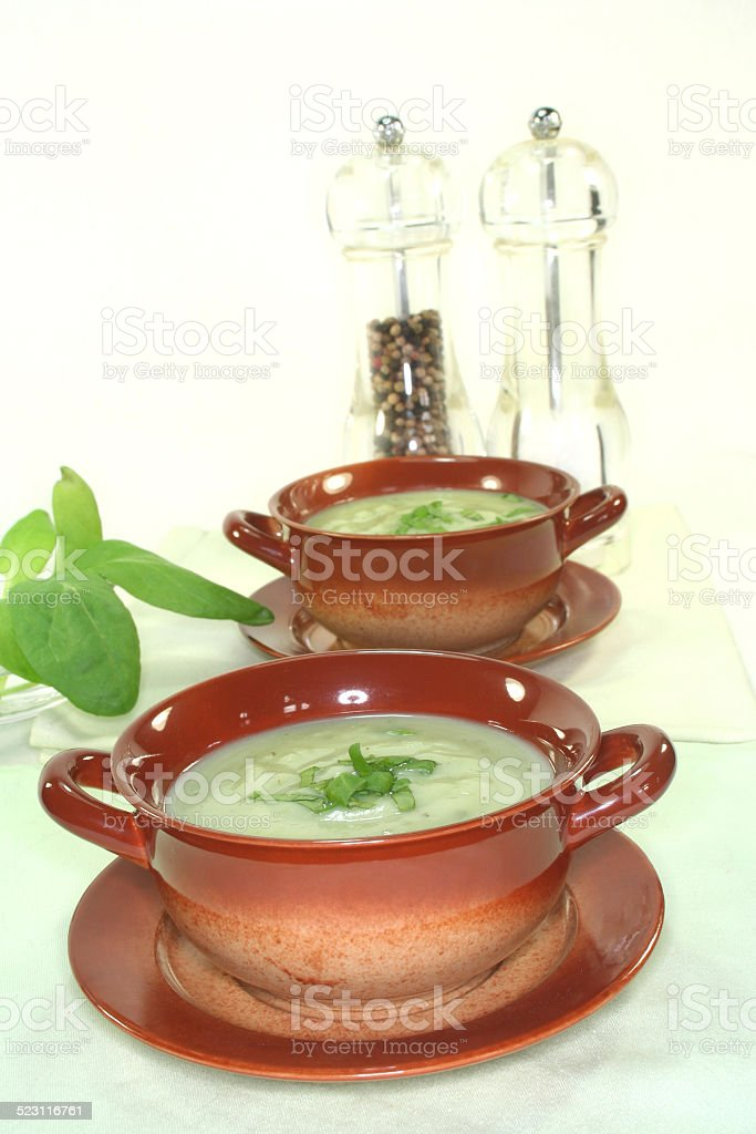 Wild herb soup stock photo