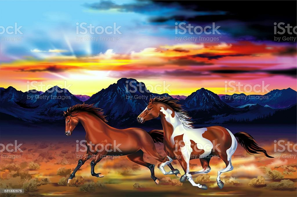 Wild Horses Run Illustration stock photo