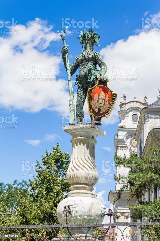 Wild man statue landmark of Salzburg, Austria stock photo