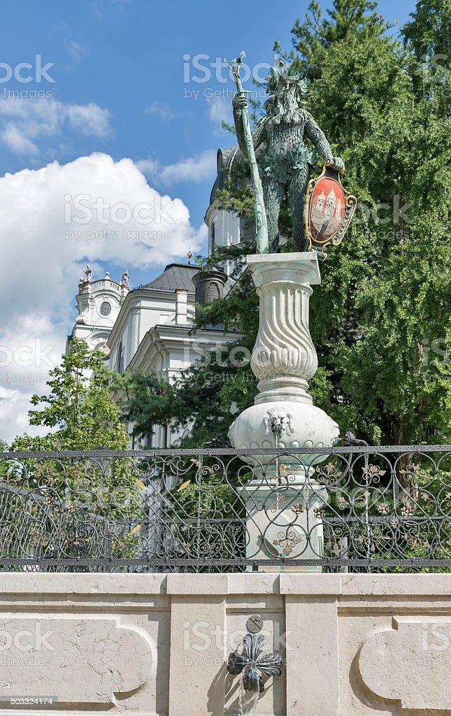 Wild Man statue near the Grosses Festspielhaus in Salzburg, Austria stock photo