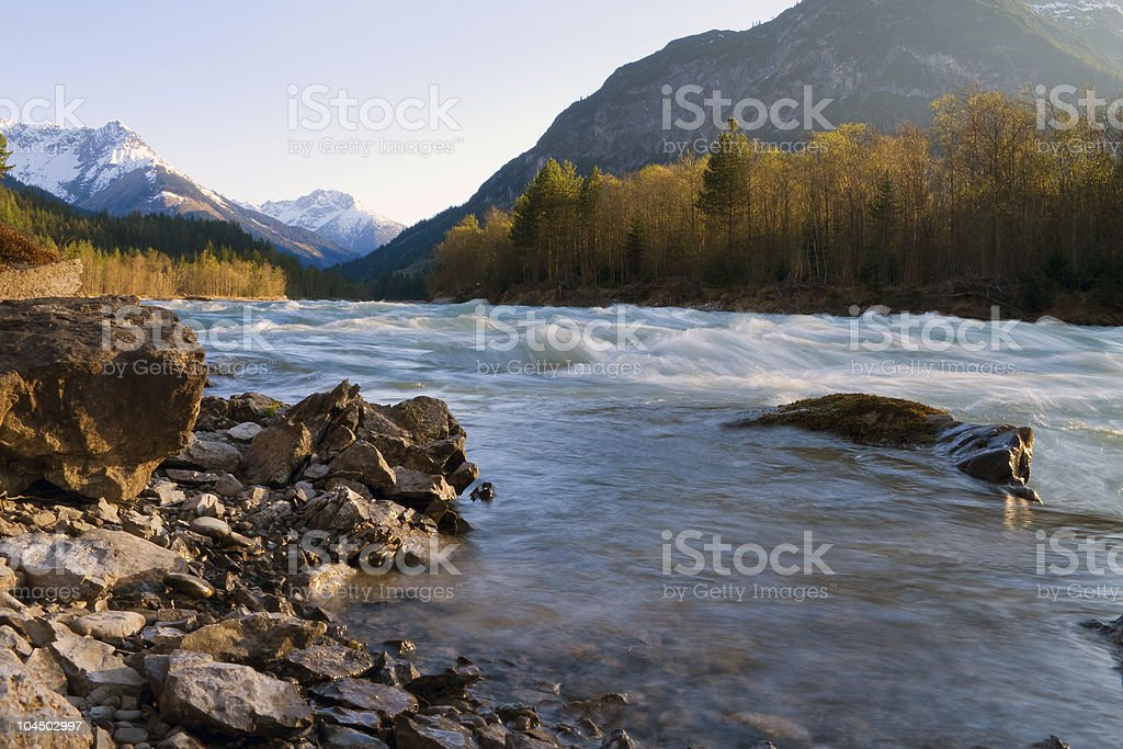 wild mountain stream stock photo