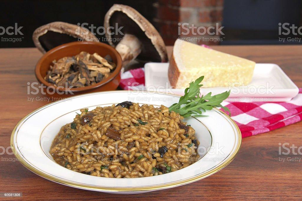 Wild Mushroom and Arugula Risotto royalty-free stock photo