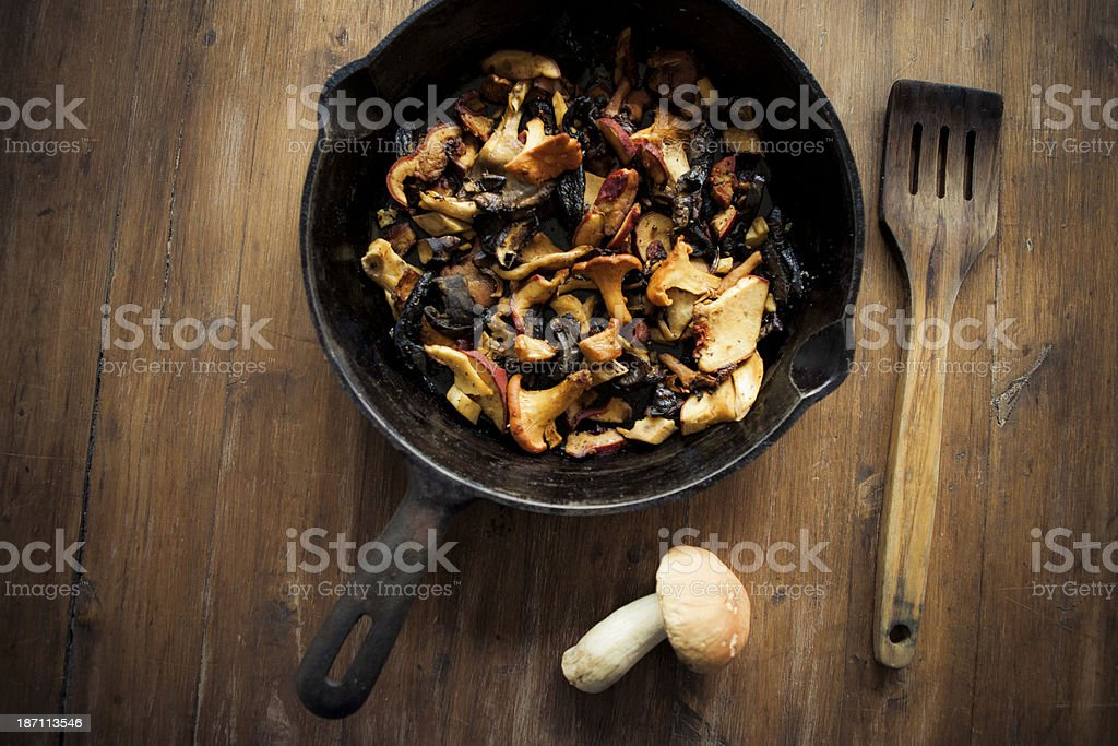 Wild Mushroom In A Pan stock photo