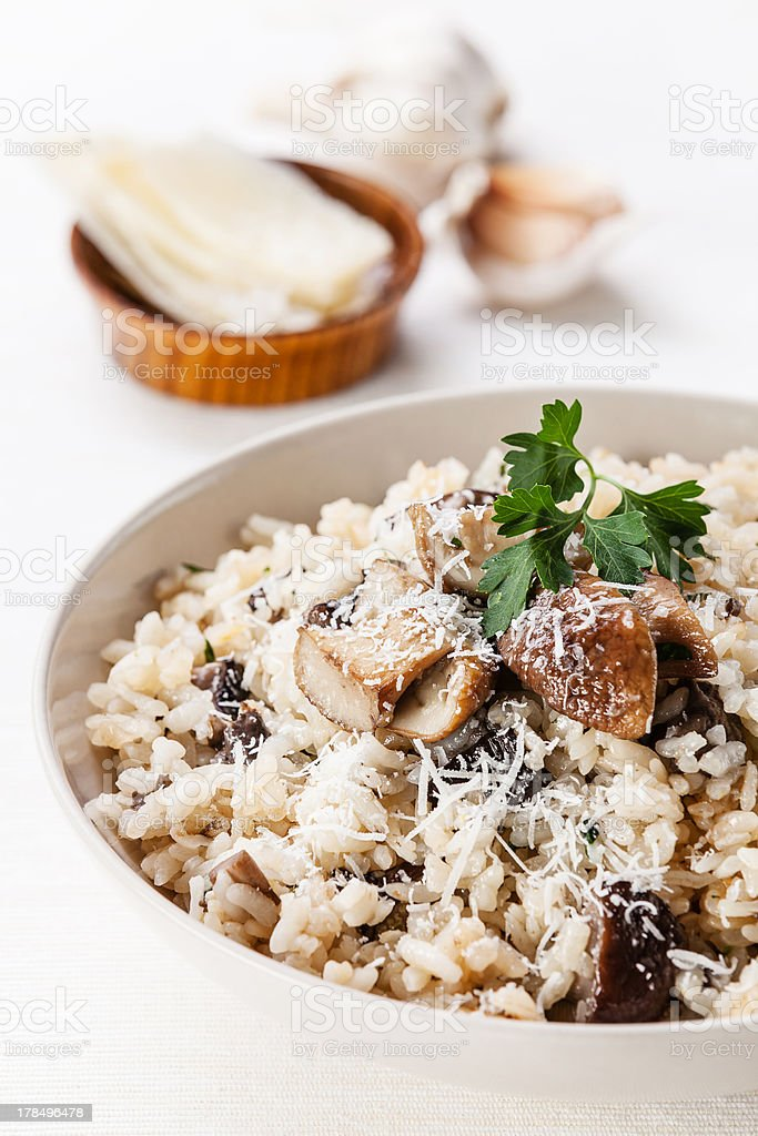 Wild mushroom risotto dish with bowl royalty-free stock photo