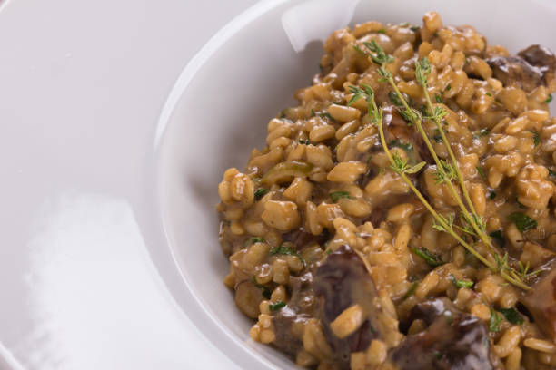 Wild mushrooms risotto. stock photo