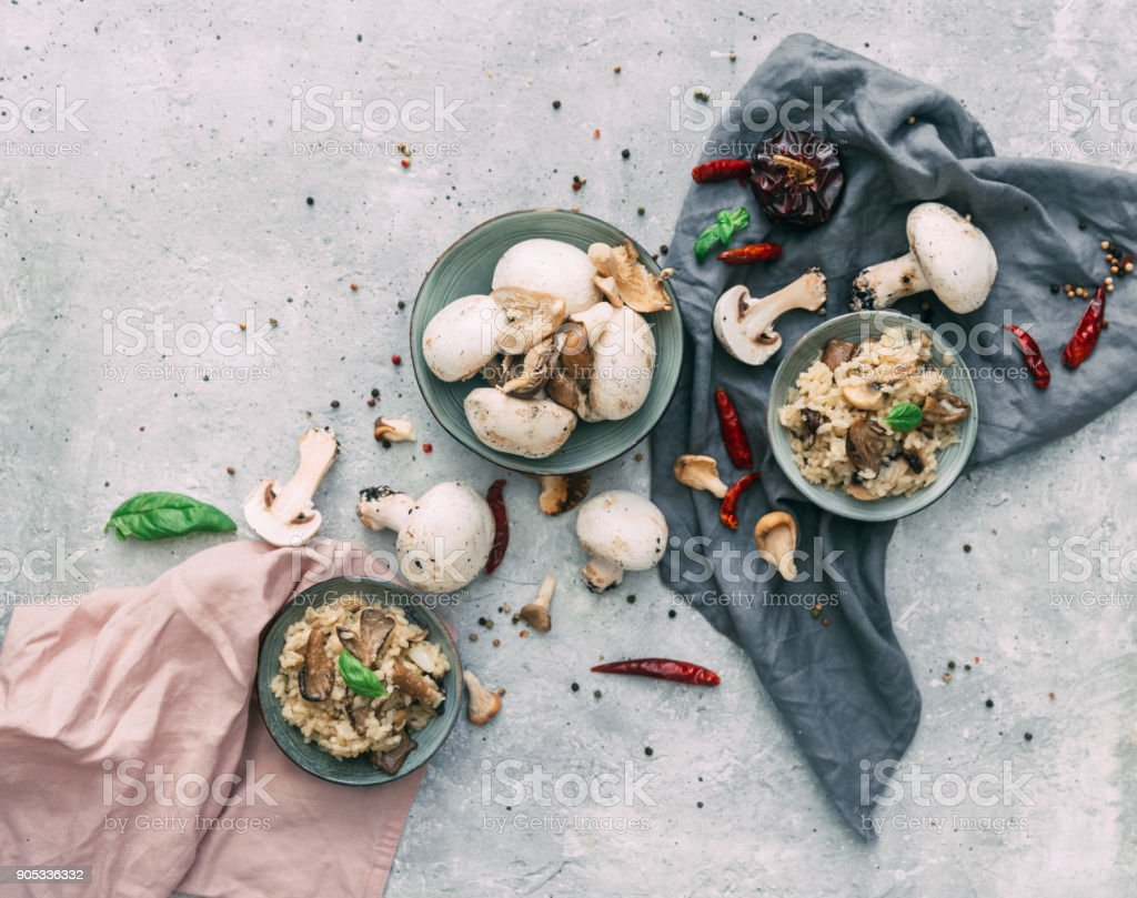 Wild mushrooms risotto with parsley and parmesan stock photo