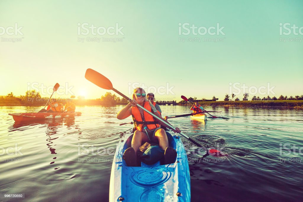 Wild nature and water fun on summer vacation. Camping and fishing. stock photo