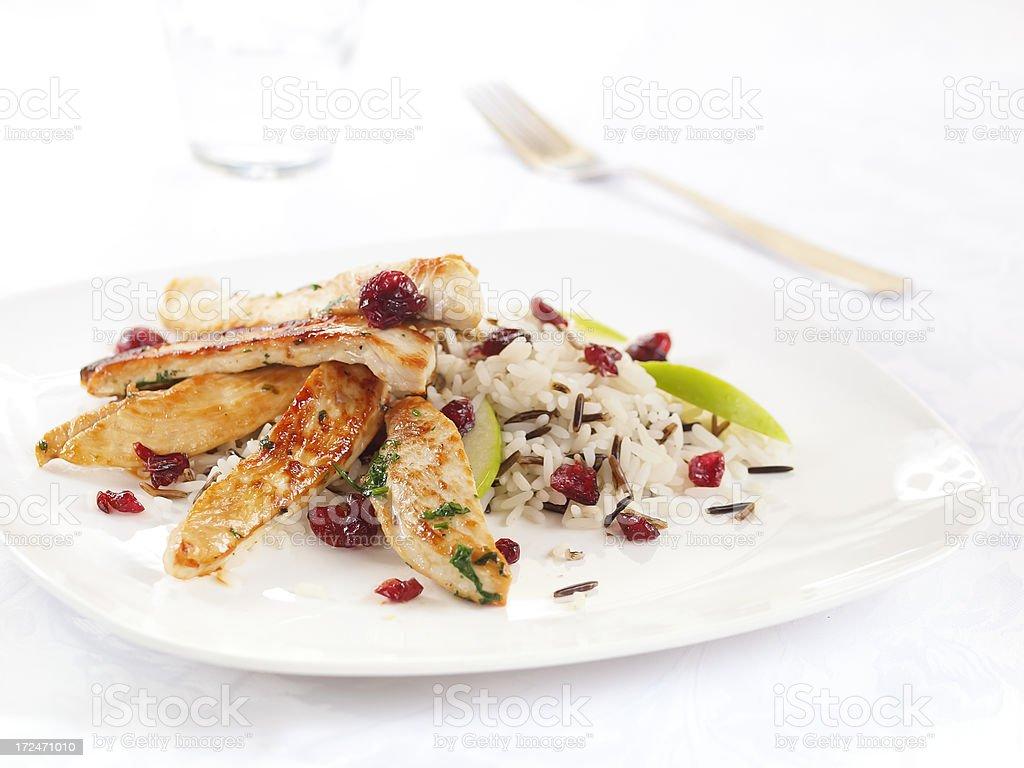wild rice and turkey salad stock photo