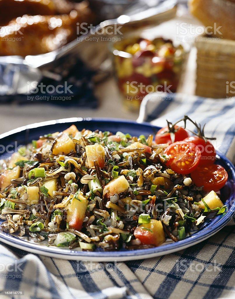 Wild rice dinner stock photo