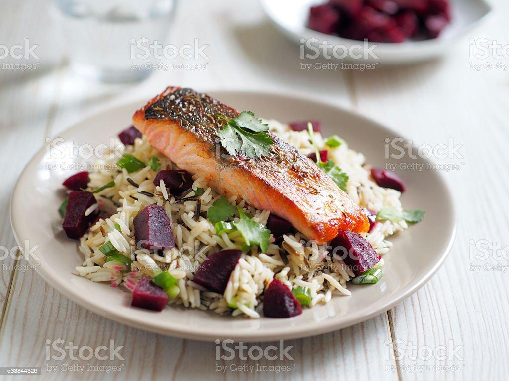 wild rice salad with salmon stock photo