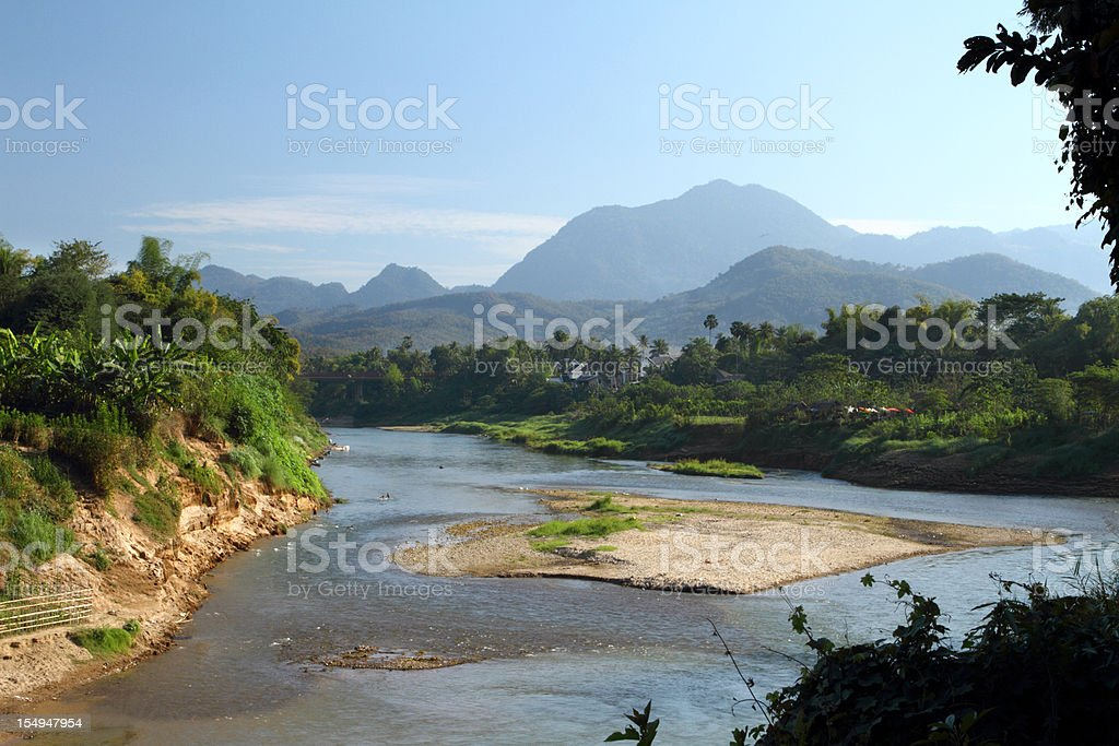 Wild river in Luang Prabang in Laos stock photo