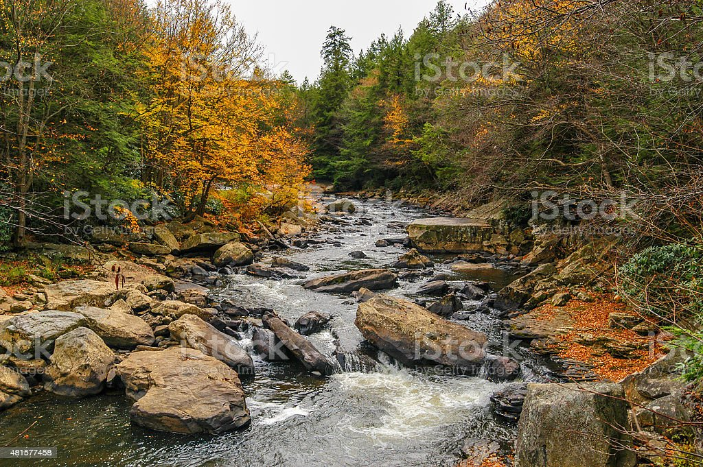Wild river in the Appalachian Mountains in Autumn stock photo