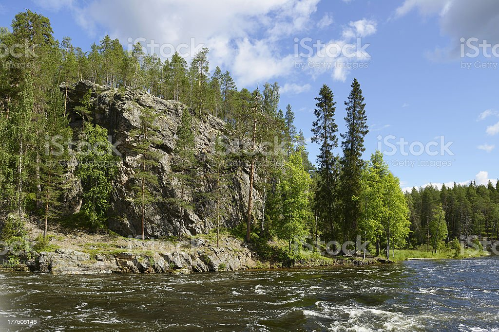 Wild River with rocky shores stock photo