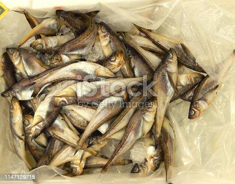 istock Wild sand fish from Korea on ice retail display 1147129715