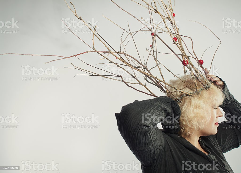 Wild shaman of the Old Forest stock photo