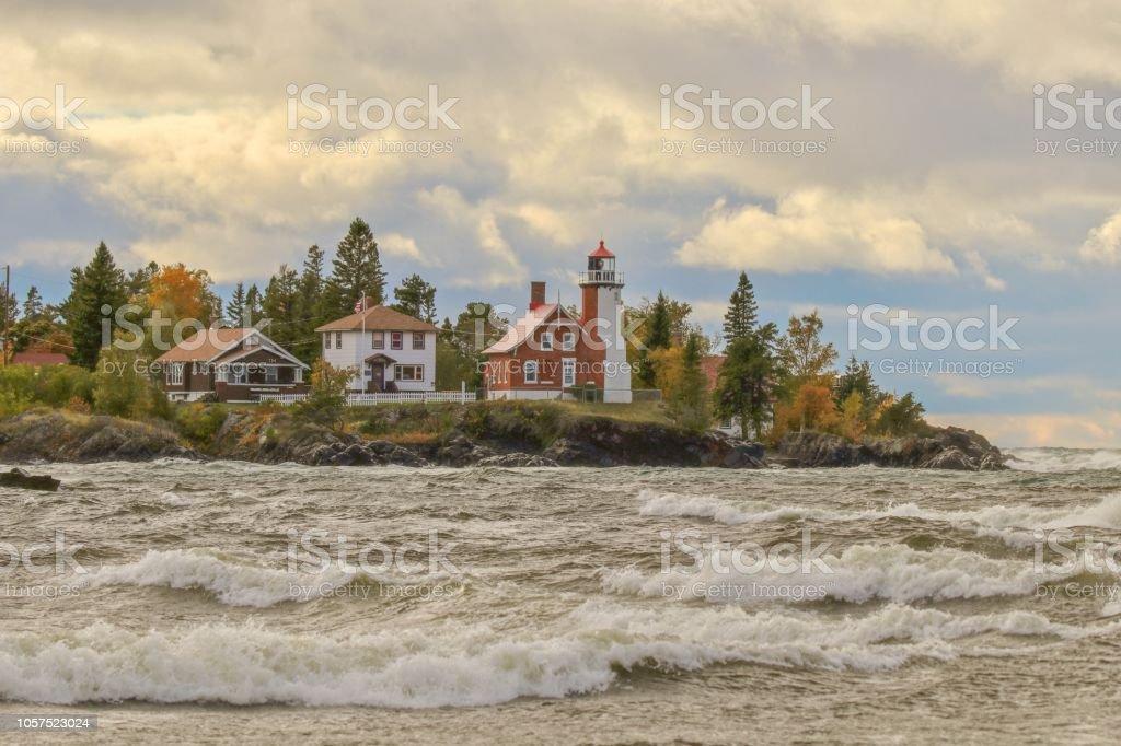 Wild stormy waves of Lake Superior at Eagle Harbor, Michigan stock photo
