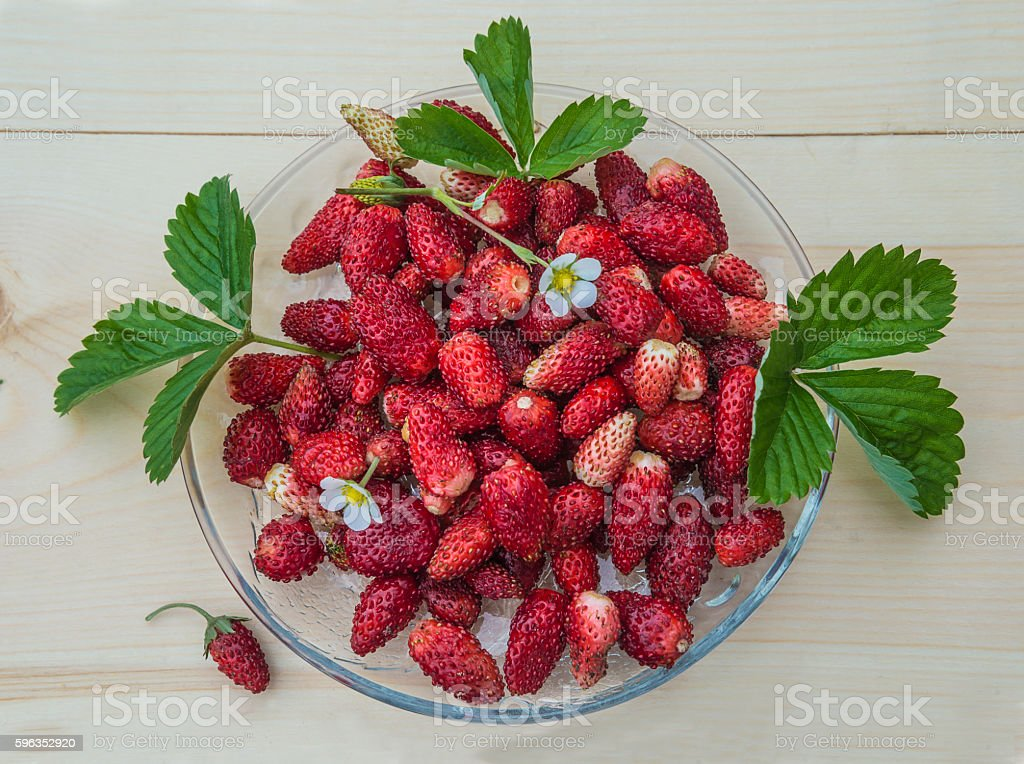 Wild strawberries on a transparent plate royalty-free stock photo