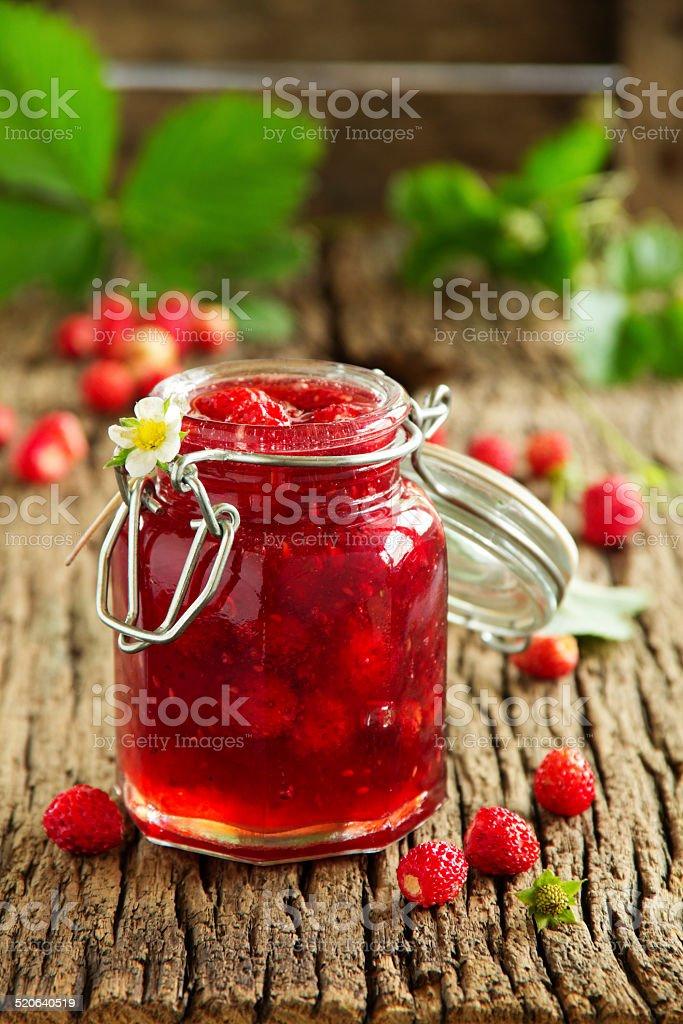 Wild strawberry jam. stock photo