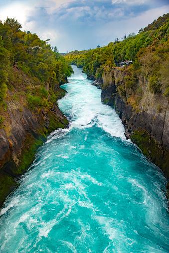 Wild stream of Huka Falls near Lake Taupo, New Zealand