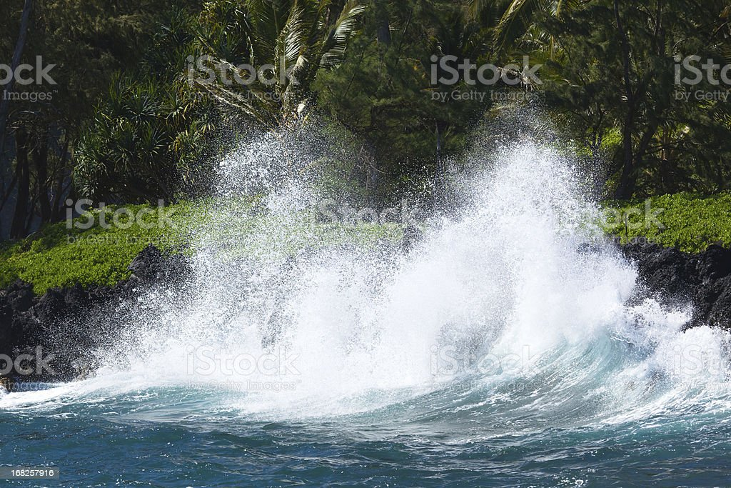 wild surf breaking on the coast of maui - hawaii royalty-free stock photo