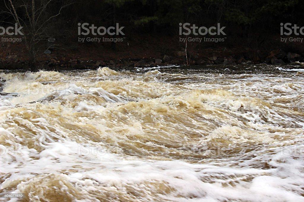 Wild Water Rapids in River stock photo