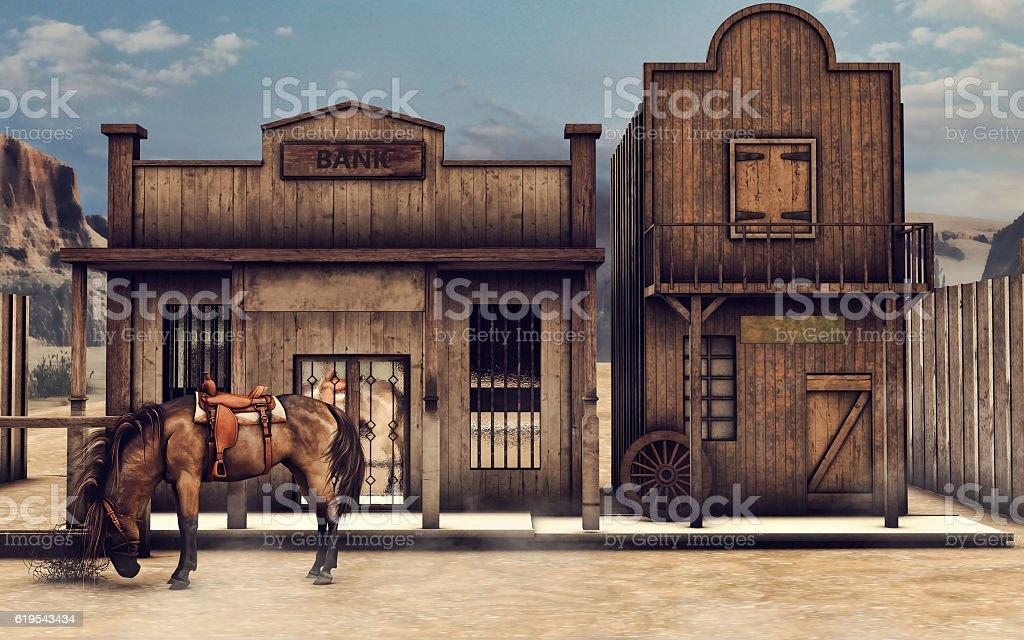 Wild West bank stock photo
