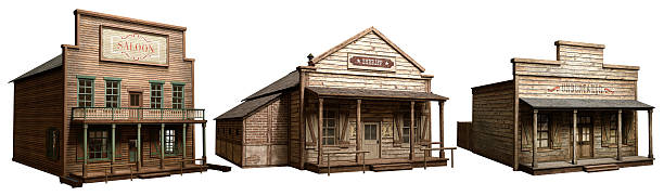 Wild west buildings saloon , undertakers and sheriffs saloon stock pictures, royalty-free photos & images