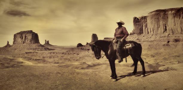 wild west cowboy on horse, old retro antique sepia tone - navajo stil stock-fotos und bilder