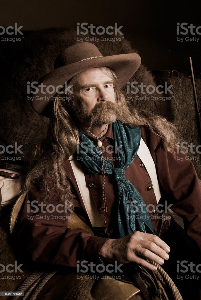 Wild West: portrait of a cowboy in period clothing stock photo