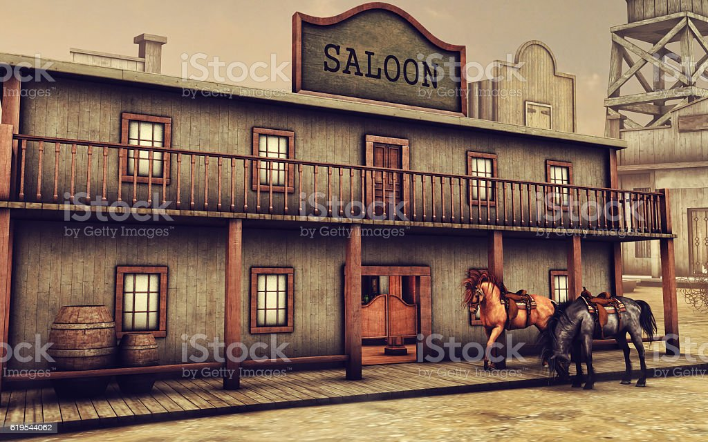 Wild West saloon and horses stock photo