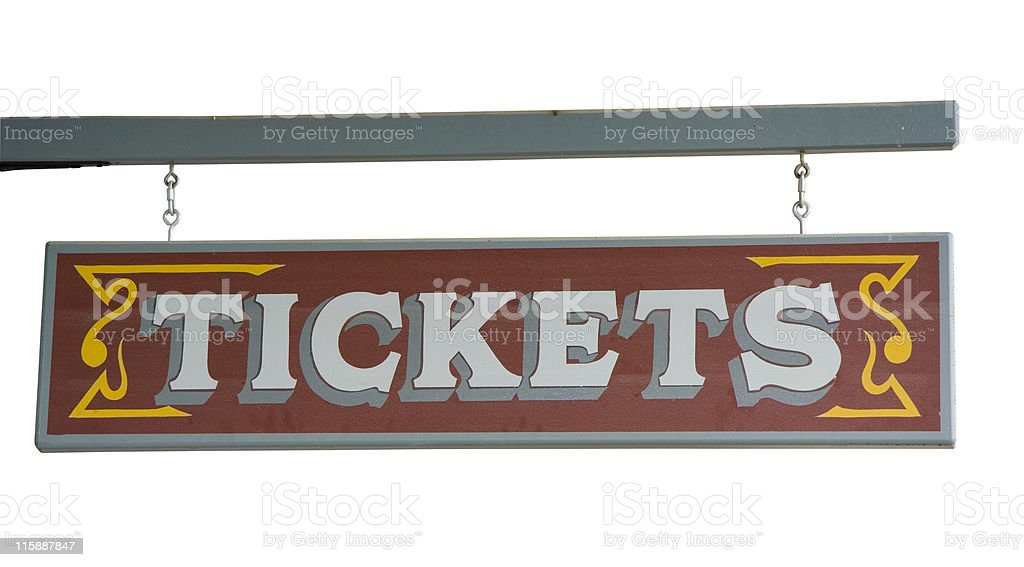 Wild West Signboard TICKETS from a Ticket Agency royalty-free stock photo