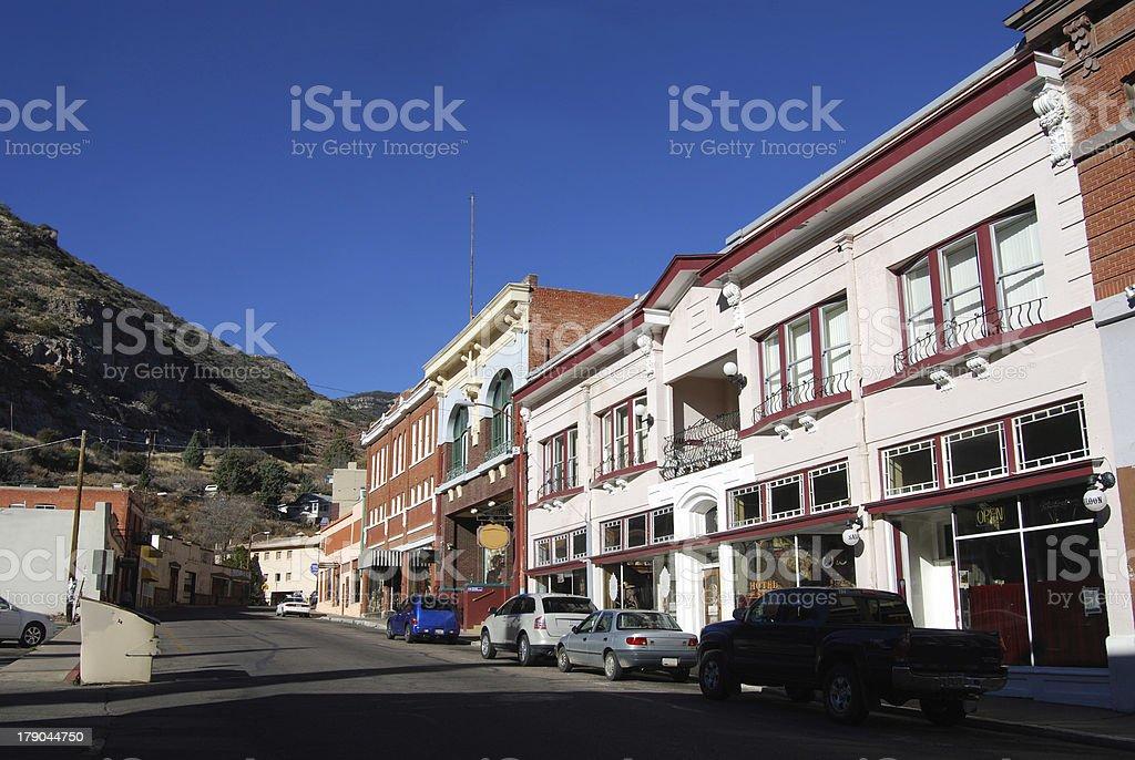 Wild west street in Bisbee, Arizona stock photo