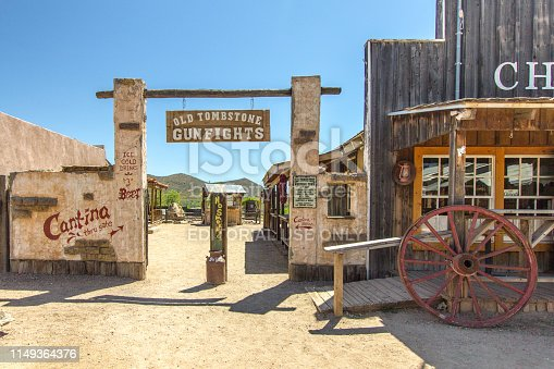 Tombstone, Arizona, USA - May 1, 2019: Wild West style facade of stores in downtown Tombstone Arizona. The notorious Wild West town now depends on tourism and has dubbed itself,