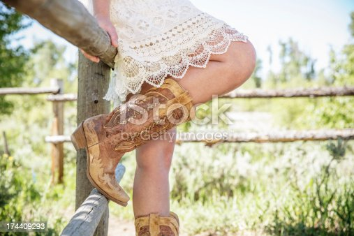istock Wild West Style Girl with Boots 174409293
