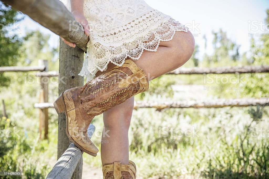 Wild West Style Girl with Boots stock photo