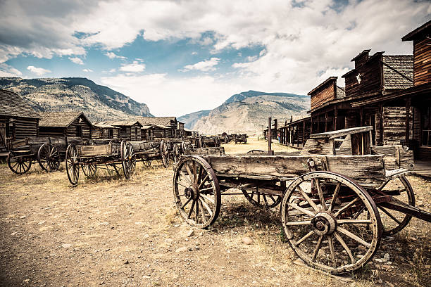 wild west town - western town stock photos and pictures