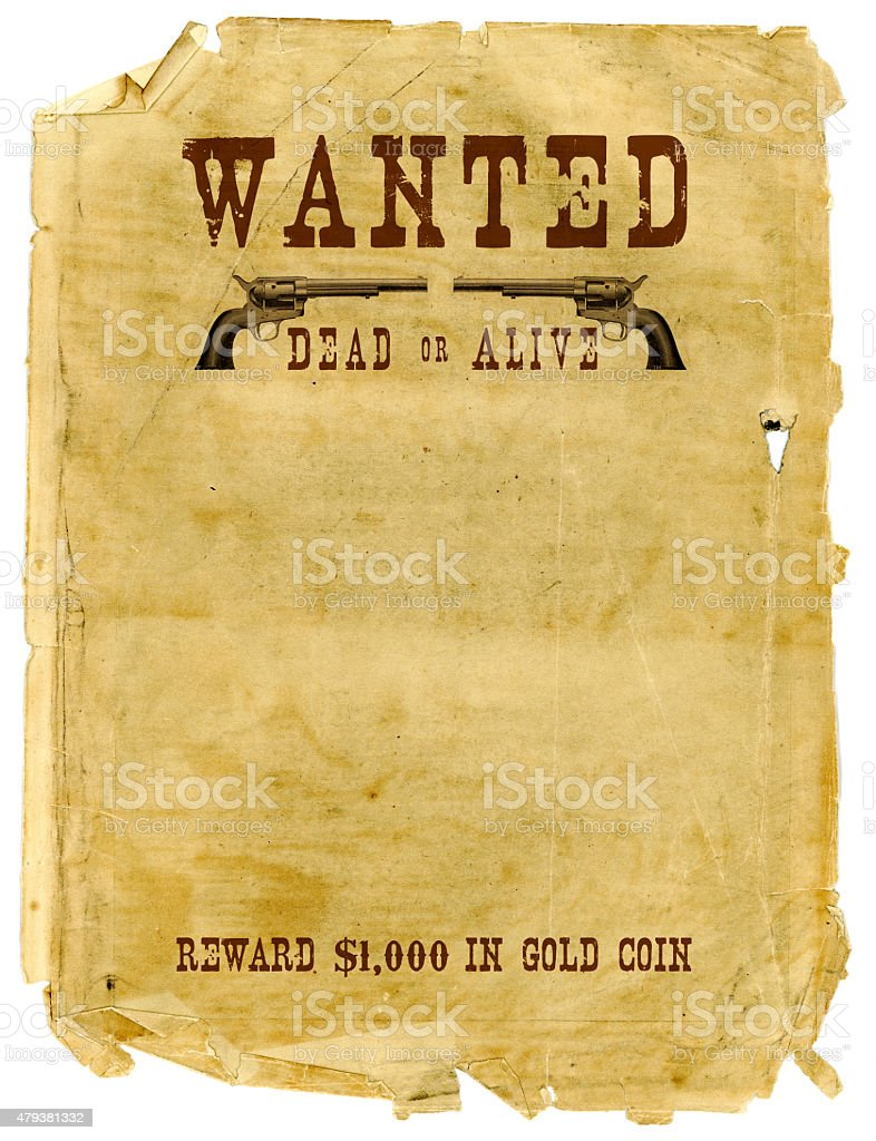 Wild West Wanted Poster stock photo