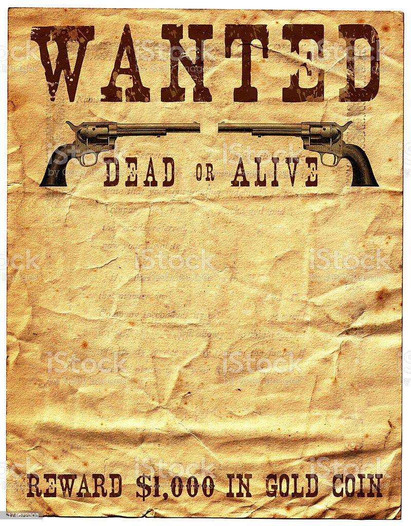 Wild West Wanted Poster Reward royalty-free stock photo