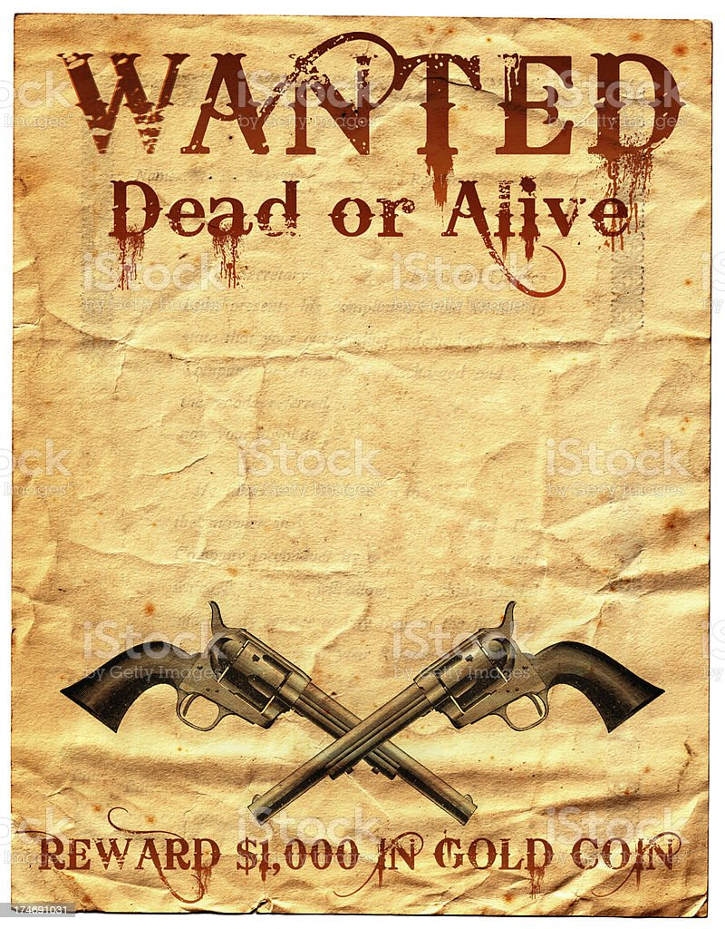 Wild West Wanted Poster Reward stock photo