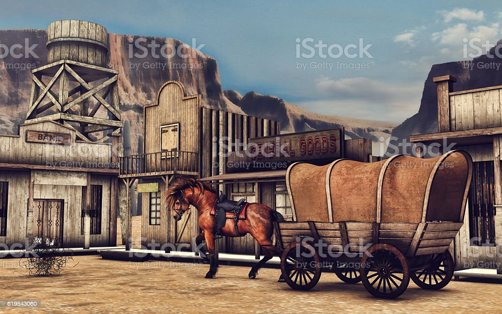 Wild West wooden town stock photo