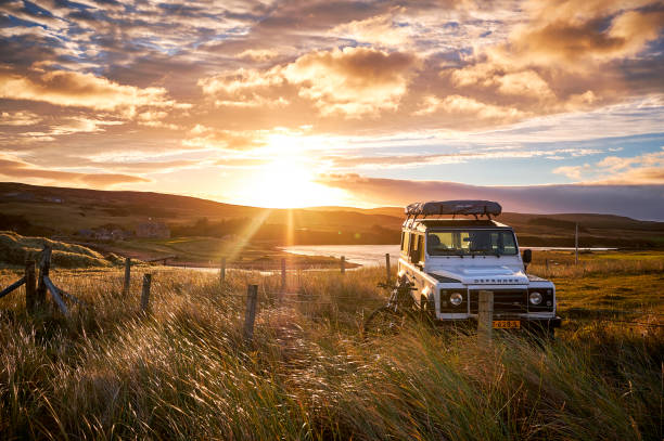 Wildcamping with Land Rover Defender 110, Scotland, North coast 500. stock photo