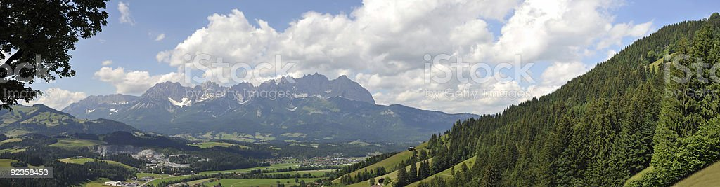 Wilder Kaiser Mountains Panorama stock photo