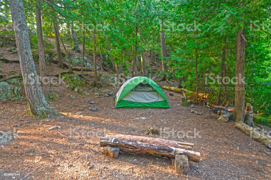 Wilderness Camp in the North Woods stock photo