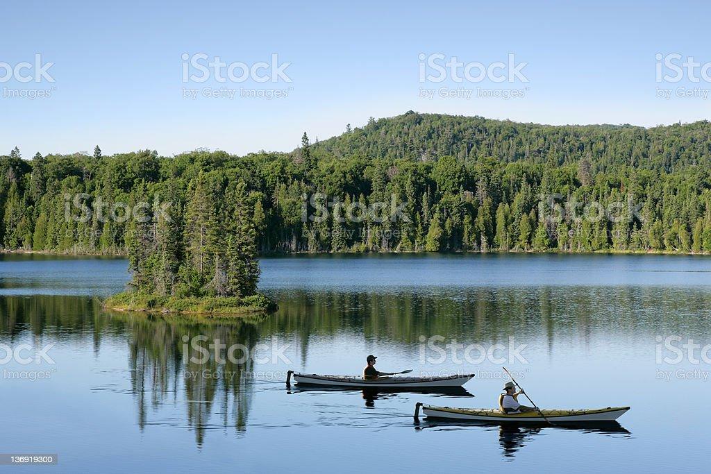 XXL wilderness lake kayaking stock photo