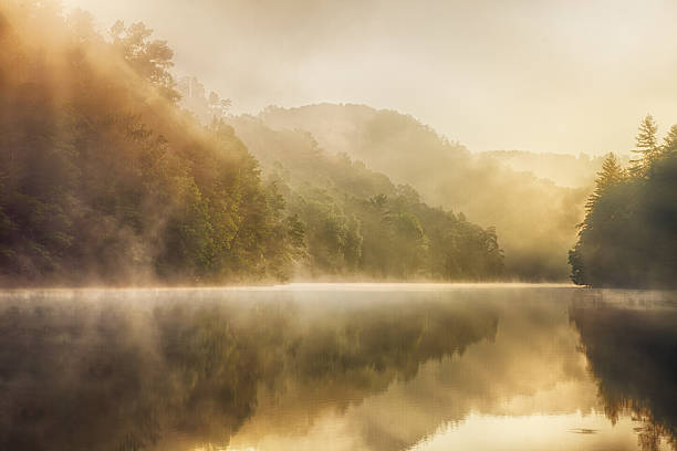 Wilderness Lake small foggy lake deep in the wilderness appalachian mountains stock pictures, royalty-free photos & images