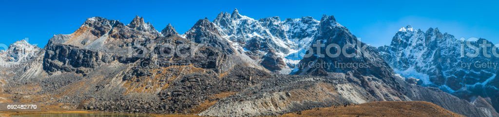 Wilderness mountain peaks panorama Everest National Park Khumbu Himalayas Nepal stock photo