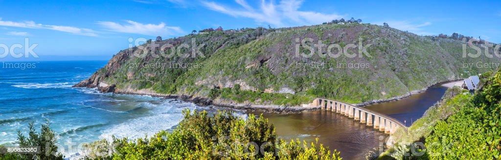 Wilderness panorama on the wild coast garden route stock photo