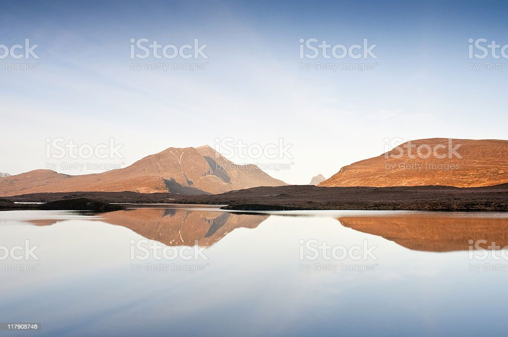 Wilderness reflections, Scottish highlands stock photo